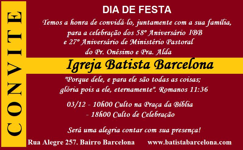 Dia De Festa 58º Aniversário Ibb E 27º Aniversário De Ministério